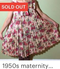 1950s vintage maternity dress with knife pleats and amazing floral print
