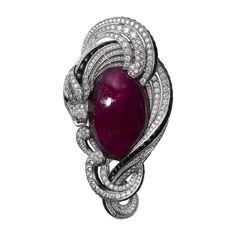 Cartier. L'Odyssée collection. Diamond, onyx & ruby chimera brooch...♡