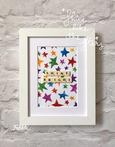 Shine bright nursery wall art - bright rainbow colours - nursery star art - wish upon a star frame - hungry caterpillar gift - multicoloured