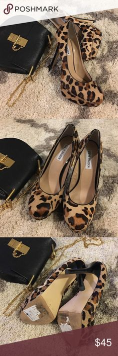 Steve Madden leopard calf-hair pumps Super gorgeous calf-hair leopard print pumps from Steve Madden. Total stunner! Always get compliments with it. Tag size 8 but fits someone in between 7 and 7.5! So I'll put 7.5 in the size. About 5 inches but comfy enough because of the 1-1.5inch platform. If I remember correctly these retailed for almost $200. Steve Madden Shoes Heels