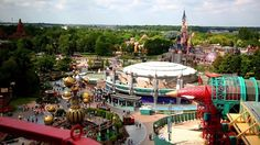A view of Discoveryland and the Sleeping Beauty Castle in Disneyland Paris DLP