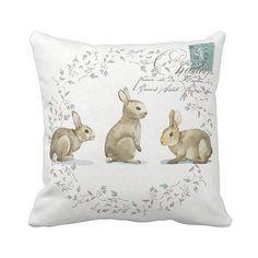 Pillow Cover Bunny Rabbit Easter or Nursery Decor por JolieMarche