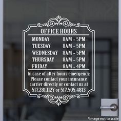 Insurance Agency Open Hours | Stickertitans.com | Custom Business / Office / Shop / Salon / Restaurant Open Hour Vinyl Decal | Our Vinyl Signs are made from Oracal 651 | 470-585-2229