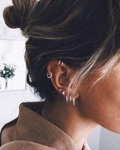 Solid Gold Set of 2 Ear Cuffs, Silver Ear Cuff No Piercing, Fake Helix Piercing, Conch Sterling Silver Ear Wrap, Solid Gold Double Ear Cuff - Custom Jewelry Ideas Lobe Piercing, Tragus Piercings, Ear Piercings Chart, Different Ear Piercings, Ear Peircings, Types Of Ear Piercings, Ear Piercings Cartilage, Multiple Ear Piercings, Double Cartilage