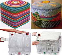 How to make a recycled plastic bottle footstool – Recycled Crafts I bet we all buy something in a plastic bottle, if not I'm sure we know someone who does. This footstool is a great example of how by using something as a group it makes it super strong…… Empty Plastic Bottles, Plastic Bottle Crafts, Recycled Bottles, Medicine Bottle Crafts, Waste Bottle Craft, Upcycled Crafts, Recycled Art, Diy Crafts, Recycled Plastic Furniture