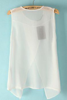 White Sleeveless Back Split Sheer Blouse