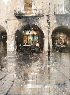 【 吉諾納的早安咖啡 / Good morning coffee in Girona】37 x 27 cm . watercolor plein air Demo by 簡忠威 (Chien Chung-Wei)