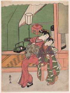 Courtesan Hugging a Kamuro  禿の肩を抱く遊女 Japanese Edo period about 1769–70 (Meiwa 6–7) Artist Suzuki Harunobu (Japanese, 1725–1770)
