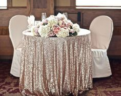 Champagne Sequin Tablecloth For Vintage Wedding And Events Custom Sparkle Table