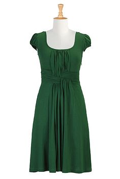 bottle-green knit dress, customizable for length, sleeves, and neckline.  AND they're having a sale!