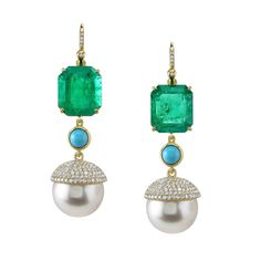 Irene Neuwirth One of a Kind Earrings with Emeralds, Turquoise, South Sea Pearls and Diamond Pave
