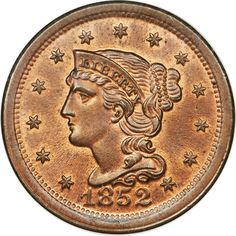 1852 1C MS67 Red and Brown NGC
