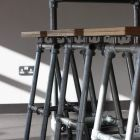 Great site for simple furniture projects DIY.  Industrial Stools, Benches and Tables at Famous Dublin Coffee Bar