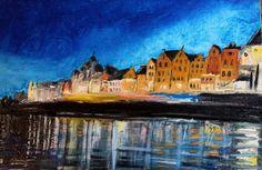 Impresionist Oil Painting by Romanian Artist Beniamin Lupsa-,, Gdansk'' 12x16 #Impressionism