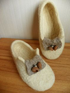 Felted slippers, eco  home shoes, handmade (ready to ship)