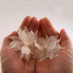 Pure SILK Bridal Hair Flowers Ivory Flower Hair Pins by FiberStone, $47.00