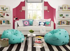 Contrasting color in a bed nook. Love the color combination for a teen bedroom or hang-out lounge area.