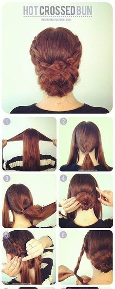 Bun w/ braids...looks like you tease up the bun? Cute and easy! Wish my hair was long enough for this!