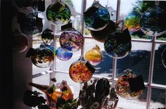 Hand blown witch balls always add color