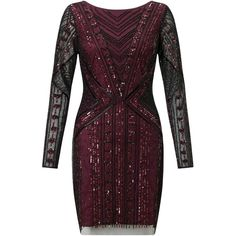Aidan Mattox Beaded Cocktail Dress, Black/Burgundy (1,150 BAM) ❤ liked on Polyvore featuring dresses, maxi dress, black sequin cocktail dress, black midi dress, bodycon maxi dress and long sleeve sequin dress