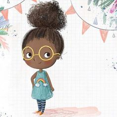 Character idea - I& calling her Jelly 🌈 Children's Book Illustration, Character Illustration, Character Sketches, Cartoon Drawings, Cute Drawings, Black Girl Art, Cute Art, Art For Kids, Character Design