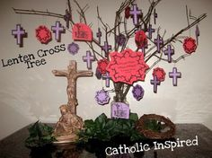 Visual for a classroom prayer table.  Each student list a Lenten sacrifice on a cross or crown and hang them on the tree.