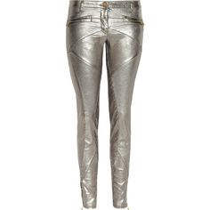 Faith Connexion Metallic coated stretch-denim skinny jeans ($500) ❤ liked on Polyvore