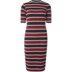 Dorothy Perkins Stripe Bodycon Dress (¥4,995) ❤ liked on Polyvore featuring dresses, vestidos, multi, red striped dress, stripe dresses, red dress, dorothy perkins dress and navy dresses