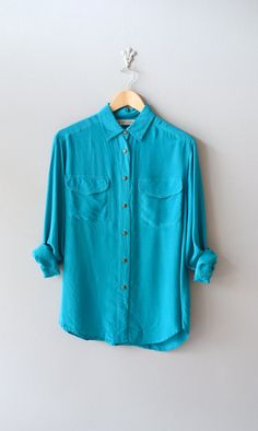 silk blouse / turquoise silk shirt / cyan slouchy by DearGolden, $38.00