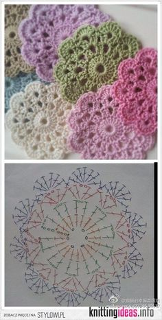 Flower Coasters-Free Chart (other patterns to check out here, too . - Free Knitting Pattern charts flower Flower Coasters-Free Chart (other patterns to check out here, too . Crochet Coaster Pattern, Crochet Flower Patterns, Doily Patterns, Crochet Motif, Crochet Designs, Crochet Doilies, Crochet Flowers, Crochet Stitches, Knit Crochet