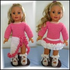 "Crocheted Ballet Outfit - 18"" inch Dolls"