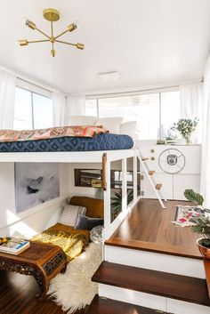 "How This Designer Made Her Dream Home On A BOAT #refinery29  http://www.refinery29.com/kyleigh-kuhn-houseboat#slide-2  How did you find the boat?""I found Whim on Craigslist! I came across a listing to rent a houseboat while on an apartment search. I loved the idea of living on the water, rather than the tiny, uninspiring apartments I was finding within my budget. I multiplied the rent they were asking times 12, and realized it would be cheaper for me to just buy a boat and fix it up, rather…"