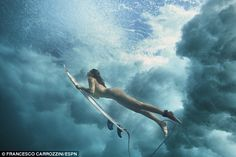 Maya Gabeira is no stranger to surfing in the nude as she comfortably rides under a wave photographed by ESPN