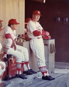 St. Louis Cardinals Manager, Red Schoendienst standing in the dugout. Photograph by Irv Schankman/Dorrill Photo, ca. 1963-64. Missouri History Museum Photograph and Prints Collections