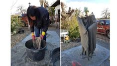 Der Weg zum eigenen Gartenwächter   eGarden Diy Halloween Decorations, Halloween Diy, Rock Planters, Fake Rock, Mosaic Designs, Concrete, Diy And Crafts, Sculptures, Cool Stuff