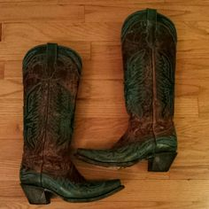 Corral Turquoise Brown Cowboy Cowgirl Boots Like new condition.  Worn twice. Corral  Shoes Heeled Boots