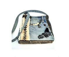 Denim And Co, Denim Bag, Piel Natural, Unique Bags, Levis Jeans, Bucket Bag, Upcycle, Upholstery, Etsy