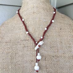 Pearls and Braided Leather Lariat Necklace