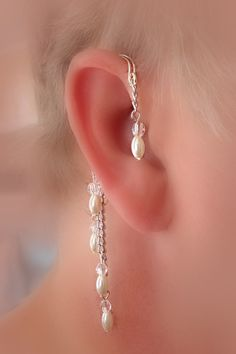 Pearl/Bridal Ear Wrap Non Pierced Over the Ear by thelazyleopard, $12.00