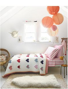 Red and white girls room