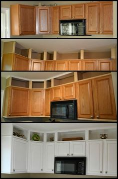 7 Excellent ideas: Cheap Kitchen Remodel Home Improvements mobile home kitchen remodel farmhouse style.Farmhouse Kitchen Remodel To Get farmhouse kitchen remodel posts.Old Kitchen Remodel Before After. Kitchen Redo, Kitchen Dining, Updating Kitchen Cabinets, Kitchen Ideas, Kitchen Cabinets To Ceiling, Short Kitchen Cabinets, Cupboards, Kitchen Cabinet Paint, Upper Cabinets
