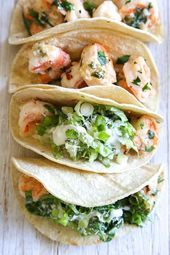 Shrimp Scampi Tacos with Caesar Salad Slaw, a unique twist on a shrimp taco! The shrimp is sauteed with butter and lemon juice topped with Caesar salad slaw and served in tortillas, so fresh and light and takes less than 20 minutes to make! Slaw Recipes, Shrimp Recipes, Fish Recipes, Mexican Food Recipes, Healthy Recipes, Ethnic Recipes, Spinach Recipes, Pork Recipes, Dinner Recipes