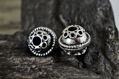 Round Spacer Beads 12mm Silver Tone Bali Style by Mebeadterranean