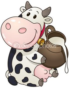Cartoon chubby cow with jug of milk. Vector clip art illustration with simple gradients. — Stock Vector © Finalpanda #104224584