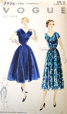 1950s BEAUTIFUL Party Cocktail Evening Dress Pattern VOGUE 7926 V Neckline Gathered Bodice Full Skirt Bust 30 Vintage Sewing Pattern