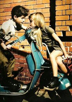 "I smiled,"" Remember when we were kids and we played on your dad's Vespa?"" ""Of course, that was where you had your first kiss, we were both wearing our Doc Marten's and your hair was up in pigtails."" ""We were 10 when that happened, a first love can't last forever, we're 17 now, how much longer will it last, because I don't want this to end."" ""Maybe it never will."" He kissed my nose and smiled."