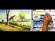 watercolor landscape tutorial: How to paint landscape with watercolor step by step easy process Watercolor Landscape Tutorial, Step By Step Watercolor, Watercolor Landscape Paintings, Mountain Landscape, Cornwall, Craft Projects, Easy, Youtube, Watercolor Painting