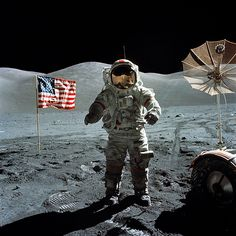 """""""As I take man's last step from the surface, back home for some time to come–but we believe not too long into the future–I'd like to just [say] what I believe history will record–that America's challenge of today has forged man's destiny of tomorrow. And, as we leave the Moon at Taurus-Littrow, we leave as we came and, God willing, as we shall return, with peace and hope for all mankind. Godspeed the crew of Apollo 17."""""""