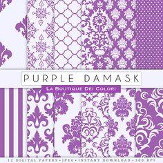 Digital paper damask Purple damask. Wedding Purple digital paper of damask backgrounds patterns for commercial use clipart