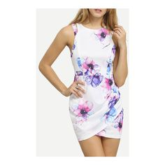 SheIn(sheinside) White Contrast Cut Out Floral Wrap Dress (2215 RSD) ❤ liked on Polyvore featuring dresses, white, short summer dresses, white sleeveless dress, white cutout dresses, floral dresses and floral sheath dress